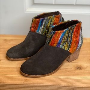 TOMS Brown Multi-Colored Ankle Boots